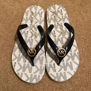 NWOT Michael Kors Navy and White Flip Flops
